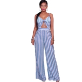 Women Jumpsuit Romper Spaghetti Strap Striped Lace Up Summer Overalls Backless Sexy Playsuit