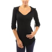 Neue Mode Herbst Frauen Mit Kapuze T-shirt Kordelzug Vordertasche Langen Ärmeln T-shirts Pullover Top