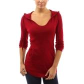 Nowa moda jesień kobiet z kapturem T-shirt sznurkiem z przodu kieszeń długie rękawy Tees sweter góry