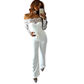 Novas mulheres sexy fora do ombro Casaco de rendas Scalloped Backless Zipper Voltar Long Sleeves Clubwear Party Romper Playsuit com Belt White