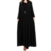 Vintage Women Dress Solid Cotton Buttons Bolsos Irregular Round Neck manga comprida Maxi Gown Loose One-Piece