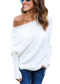 Women Loose T-shirt Ribbed Off Shoulder One Shoulder Asymmetric Round Neck Batwing Sleeve Casual Oversize Pullover
