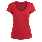 New Fashion Women Solid T-Shirt Deep V-Neck manga curta Slim cintura Tees Top preto / Borgonha
