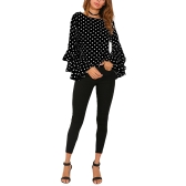 Frauen Polka Dot Rüschen Bluse Top Long Sleeves O-Ausschnitt Elegantes Freizeithemd Schwarz