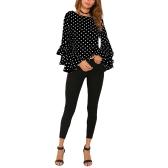 Mulheres Polka Dot Ruffle Blusa Top manga comprida O-Neck Elegante Casual Shirt Black