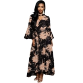 Mulheres Chiffon Maxi Dress Floral Print Cut Out V-Neck Chocker Flare Sleeve Vestido longo Black / Burgundy