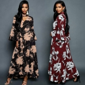 Women Chiffon Maxi Dress Floral Print Cut Out V-Neck Chocker Flare Sleeve Long Dress Black/Burgundy