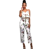 Women Summer Two Piece Set Floral Printed Spaghetti Strap Double Ruffles Crop Tops & Long Pants Sets