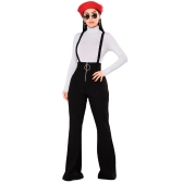 Women Dungarees Overalls Bell-bottomed High Waist O-ring Zipper Front Flared Casual Jumpsuits Pants Trousers