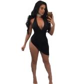 Frauen Kleid Neckholder Plunge V Ärmellos Rückenfrei Split Asymmetrische Rüschen Bandage Bodycon Mini Sexy Clubwear Schwarz