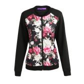Mode Herbst Winter Frauen Blumendruck Jacke Mantel Reißverschluss Langarm Tasche Bomber Jacke Streetwear Schwarz