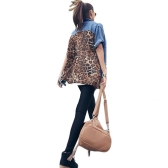 Women Denim T-Shirt Leopard Impresso Turn-down Collar Botão Bolsos Loose Casual Summer Tee Top Blue