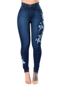 New Sexy Women Embroidered Stretch Jeans High Waist Button Zipper Pockets Skinny Pencil Denim Pants Dark Blue