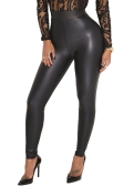 Sexy Women Pu Wet Look Faux Leather Stretchy Leggings Elastic Waist High Rise Skinny Pants Calças Jeggings Black