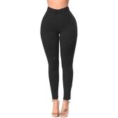 Frauen Skinny Jeans Denim Hohe Taille Elastische Gewaschene Geraffte Dünne Bleistifthose Strumpfhosen Leggings