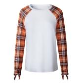 Mode coréenne femmes T-shirt à carreaux manches col rond Bowknot Casual Pulls Tops Beige