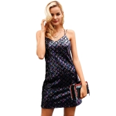 Frauen Pailletten Ärmelloses Kleid Spaghetti Strap V-Ausschnitt Backless Cami Mini Club Party Slip Kleid Vestidos