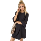 Mode Femmes Mini Robe O Cou 3/4 Flare Manches évider Couleur Solide Casual Party Dress