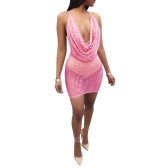 Sexy Women Sequin Glitter Bodycon Vestido Sheer Mesh Sem mangas Backless Night Party Dress Clubwear