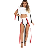 New Fashion 2 Piece Clothes Set Mulher Costura Top e Side Split Pants Suit Ladies Sexy Tracksuit Preto / Branco