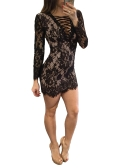Sexy Women Lace Dress Deep V Neck Crisscross Bandage Long Sleeve Slim Bodycon Mini-Vestido Preto / Branco
