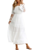 Sexy Women Maxi Long Dress Off the Shoulder Lace Flare Sleeve Elegante Evening Party Boho Vestido Branco