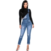 Fashion Women Denim Overalls Ripped Stretch Dungarees High Waist Long Jeans Pencil Pants Rompers Jumpsuit Blue