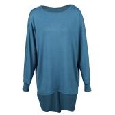 Moda Mulheres T-Shirts Tops Big Size Round Collar Dip Hem Casual Plus Size Tees Azul / Verde