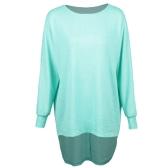 Mode Femmes T-shirts Tops Grande Taille Col Rond Dip Hem Casual Plus Taille T-shirts Bleu / Vert