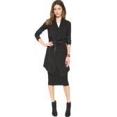 Cappotto da donna autunno inverno Cappotto Grande risvolto in pelle PU Cappotto a manica lunga Capispalla casual nera