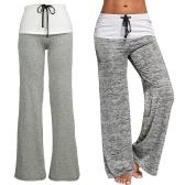 Mulheres Calças Drawstring Foldover Cintura alta Wide Loose Flare Leg Palazzo Casual Ioga Trouser Grey
