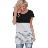 Las mujeres de moda del color del bloque de rayas camiseta de manga corta Casual de punto delgado Túnicas blusa Tops Negro