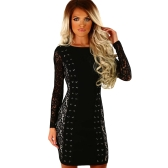 Sexy Femmes Moulante Robe Dentelle Splice Lace-Up O-cou À Manches Longues Mince Party Club Mini Robes