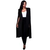 Mulheres Casaco Long Cape Blazer Coat Cardigan Casaco Split Slim Office OL Suit Casual Sólido Casacos