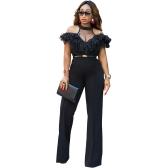 Nouveau Sexy Femmes Épaule Froide Jambe Large Jumpsuit Sheer Mesh Ruffle Clubwear Romper Global Noir