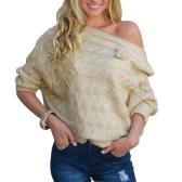 Mulheres novas Camisola de malha grande tamanho Slash Neck Off the Shoulder Flare Sleeve Top Tricô Bege / Purple