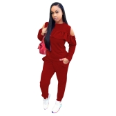 New Sexy Women Cold Shoulder Two-Piece Set O Neck Long Sleeve Ruffle Top High Waist Pants Suit