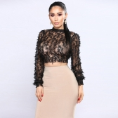 Sexy Women Sheer Lace Crop Top High Neck z długim rękawem Mesh Slim bluzka T-Shirt Czarny
