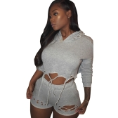 New Women Two Piece Outfits Hooded Sweatsuit Cropped + Pants Hole Hip Hop Bodysuit Grey