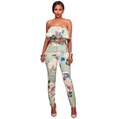 Mujeres de la manera de dos piezas conjunto de estampado floral volante hombro sin respaldo de cintura alta Bodycon Top corto y pantalones trajes