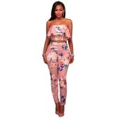 Mode Frauen Zweiteiler Blumendruck Rüschen Off Schulter Backless Hohe Taille Bodycon Crop Top und Hosen Outfits