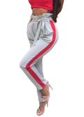 Frauen-beiläufige lange Hosen-gestreifte hohe Taillen-Verband-dünne Harem-Hose schwarz / grau