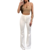 Moda Mulher Bell Bottom Pants Elastic High Waist Solid Casual Trousers