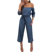 Mulheres Off Shoulder Denim Jumpsuit Rompers Belted Wide Leg Pants Long Trousers Overalls Bodysuit Playsuit