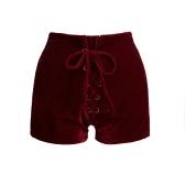 Le nuove donne sexy vita alta Lace Up velluto Shorts aderente Club Punk bicchierini caldi casuali pantaloni neri / Borgogna / Arancione