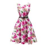 Vestido floral de la vendimia de las mujeres de la nueva manera Imprimir O-cuello sin mangas del vestido de bola del partido elegante con la correa