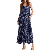 Women Dress Polka Dot Imprimer col V sans manches en vrac Maxi robe longue Casual Vintage One-Piece