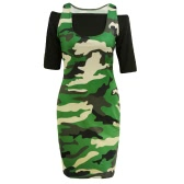 New Women Crop Top Mini Robe moulante Camouflage Off épaule demi-manches Casual Deux-Piece Army Green