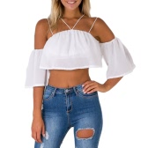 Sexy Fashion Women Loose Crop Top Solid Off Shoulder Backless Strappy Short Sleeves Casual Blouse Tank Tops White