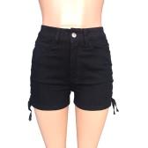 El nuevo dril de algodón atractivo de las mujeres pone en cortocircuito los pantalones vaqueros cortos delgados de la cintura alta del botón del vendaje del cordón entrecruzado blanco / negro